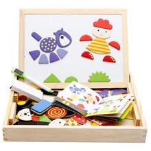 дети Магнитные деревянные головоломки блоков игрушки мультфильм Tangram ребенка рисунок доска игрушки ealy образовательных обучения творческих игрушек