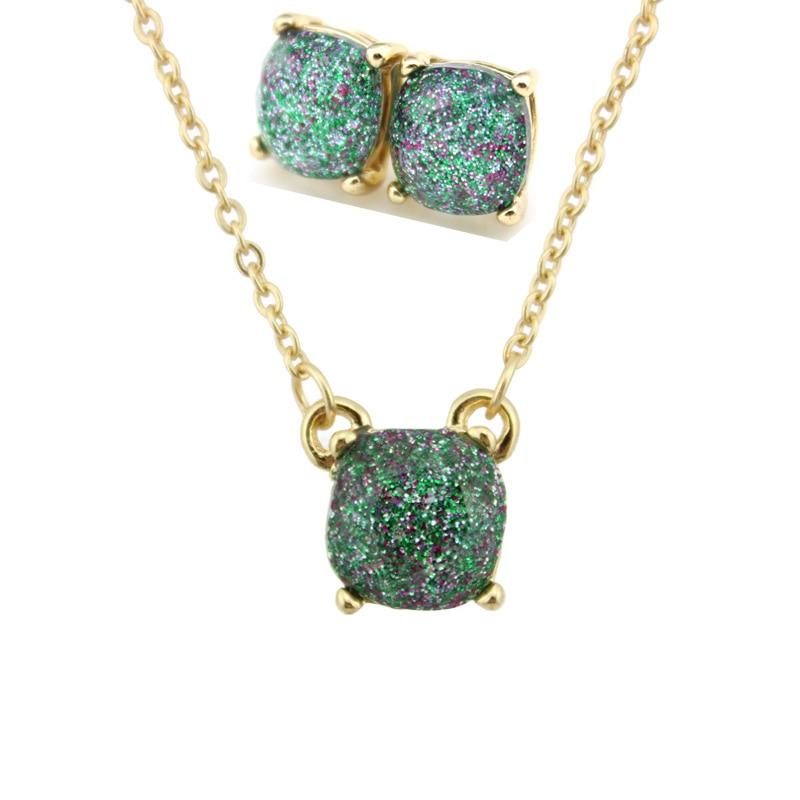 Moda ks altın küçük kare opal glitter kolye küpe setleri - Kostüm mücevherat - Fotoğraf 5