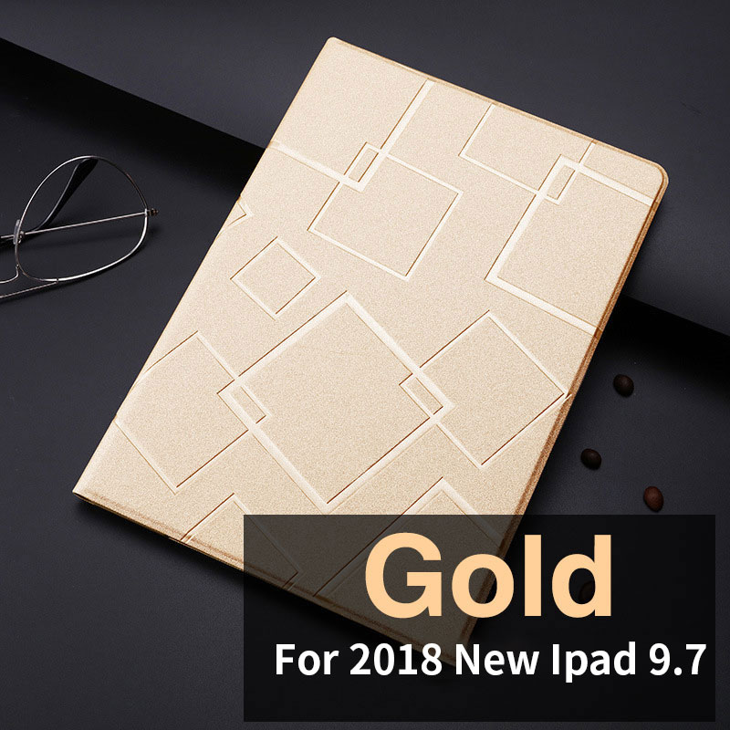 Golden Slim case with geometric pattern and 2stand for iPad 9.7 inch (2017, 2018)