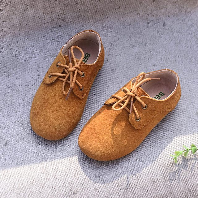 Cowhide Children Sneakers suede leather Boys and Girls lace-up Oxford Shoes Kids casual shoes