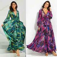 Mode Lange Hülse Kleid Grün Tropical Strand Vintage Maxi Kleider Boho Casual V-ausschnitt Gürtel Spitze Up Tunika Drapierte Plus größe Kleid