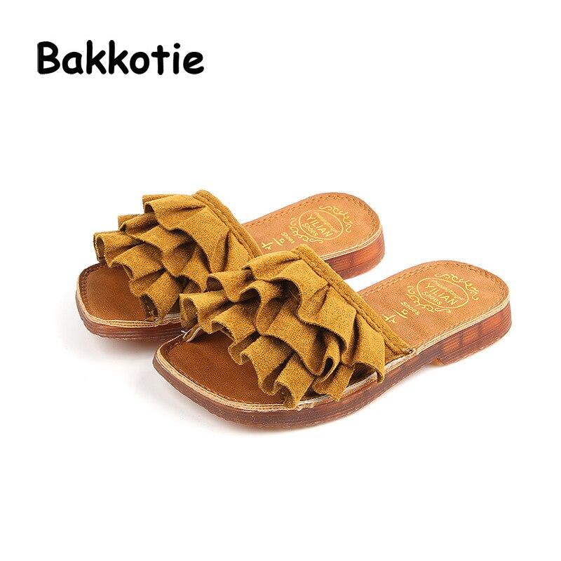 Bakkotie 2018 New Summer Children Fashion New Baby Girl Princess Slides Kid Soft Slipper Toddler Casual Mules Pink Slip On Shoe