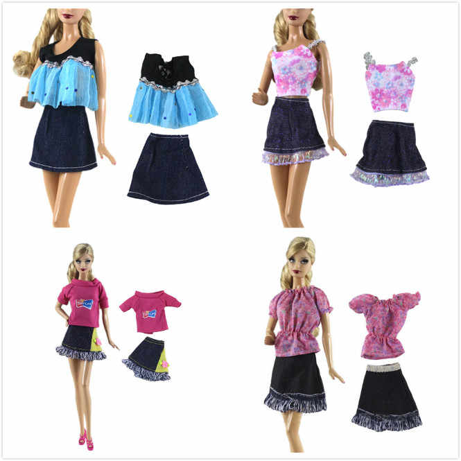 Newest 2pcs/set Fashion Modern Outfit Sexy Casual Wear Coat Shirt Dress Skirt Belt Clothes For Girl Doll DIY Accessories Gift