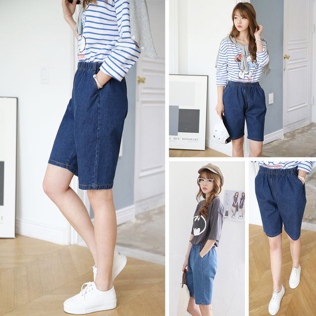 Ladies Denim Knee Length Shorts