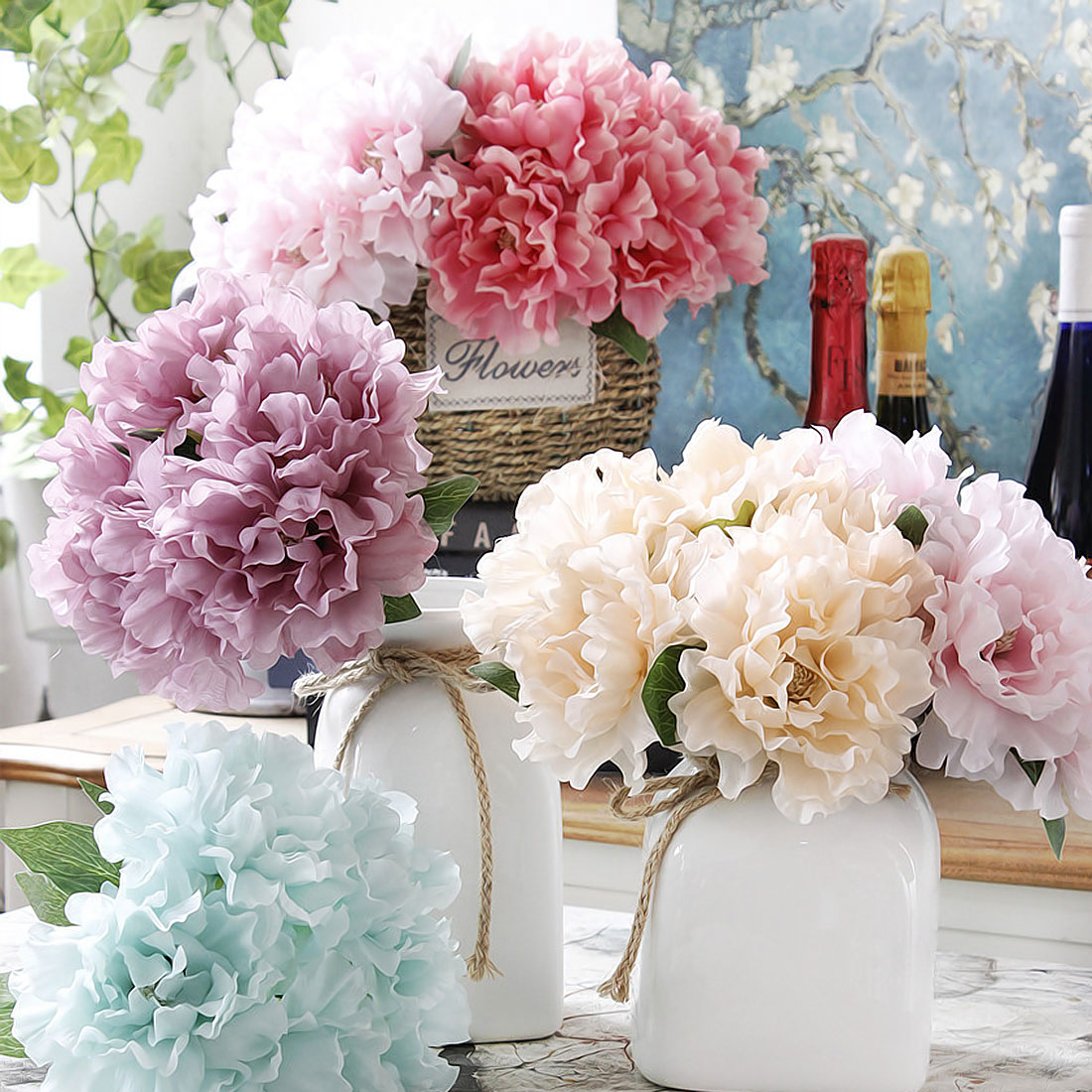 5 heads/ bouquet Peony Artificial flowers Silk Fake Flower ...