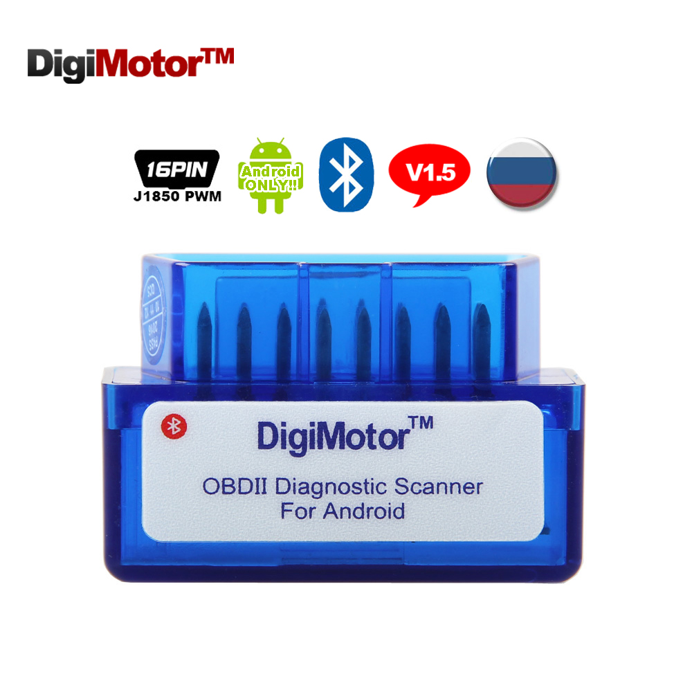 Digimotor ELM 327 V 1.5 Bluetooth OBD2 Auto Diagnostic Tool Scanner Automotive ELM327 V1.5 Diagnostic-Tool ELM327 OBD 2 Android