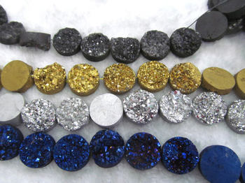 Drilled--AA Grade Geuniune Druzy Drusy Crystal Quartz Beads Round Disc Cabochon Assorted Jewelry Beads 8-20mm full strand