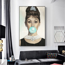 Nordic Style Poster Wall Art Modular Print Audrey Hepburn Blow Bubbles HD Pictures Canvas Painting Modern Living Room Home Decor(China)