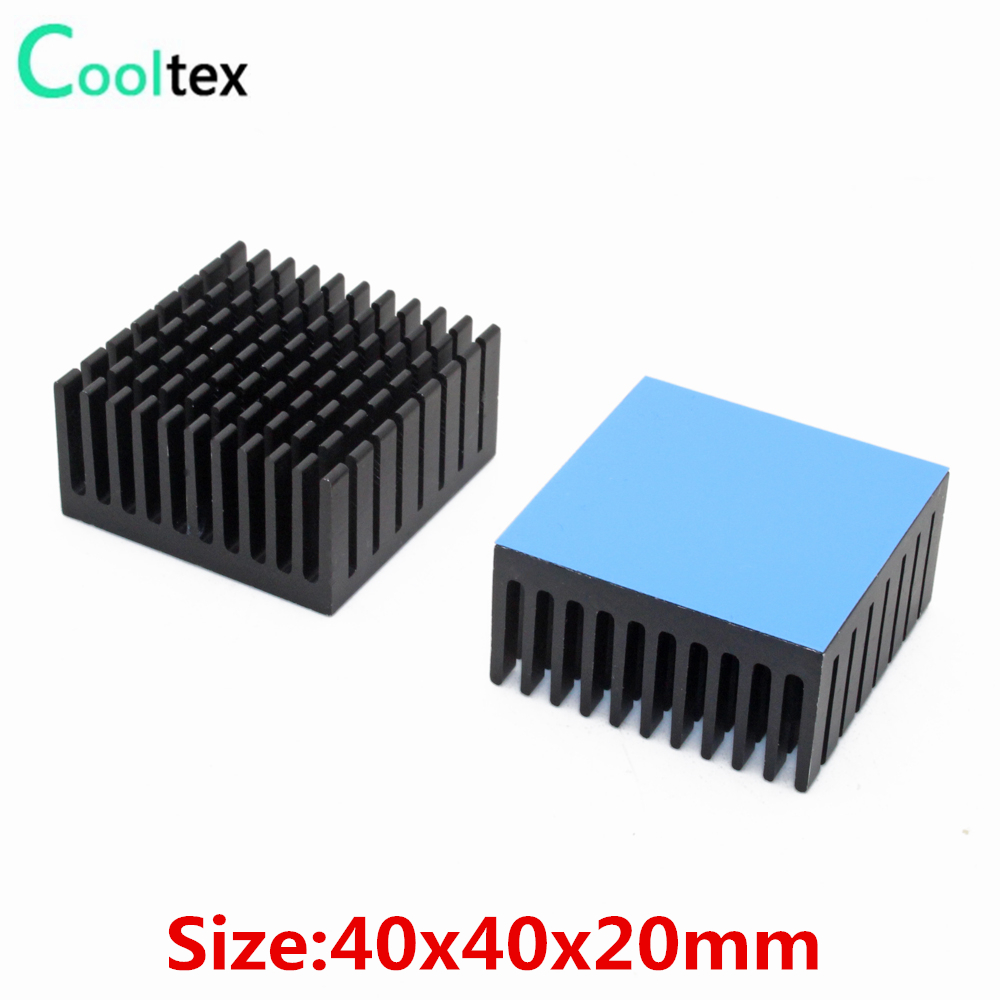 2 個 40 × 40 × 20 ミリメートルアルミヒートシンクラジエーター冷却クーラーヒートシンク電子チップ IC LED 熱伝導性テープで