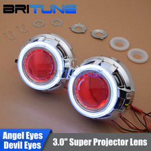 3 0 Upgrade HID Bi xenon Projector Lens W LED Daytime Running Lights COB Angel Eyes
