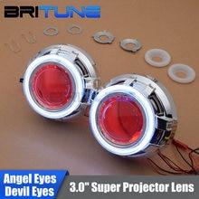"3.0"" Upgrade HID Bi-xenon Projector Lens W/ LED Daytime Running Lights COB Angel Eyes Halo Devil Eye Car Headlight Tuning DIY"