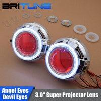 3.0'' Upgrade HID Bi xenon Projector Lens W/ LED Daytime Running Lights COB Angel Eyes Halo Devil Eye Car Headlight Tuning DIY