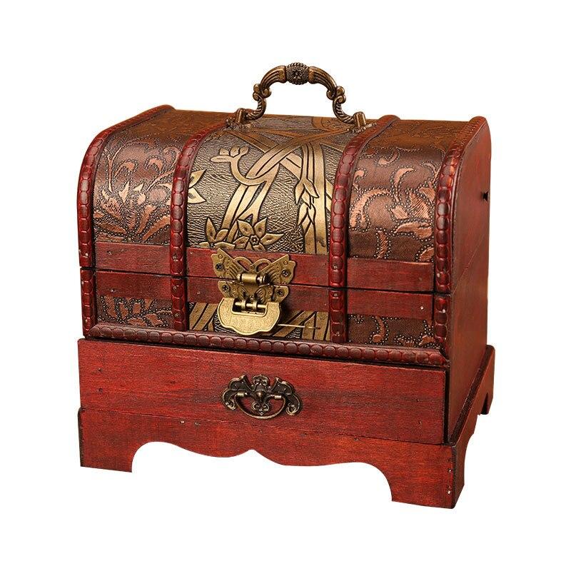 Classique Antique boîte à trésor en bois ornement artisanat boîte à bijoux avec serrure tiroir ménage rétro bijoux boîtes de rangement décor à la maison