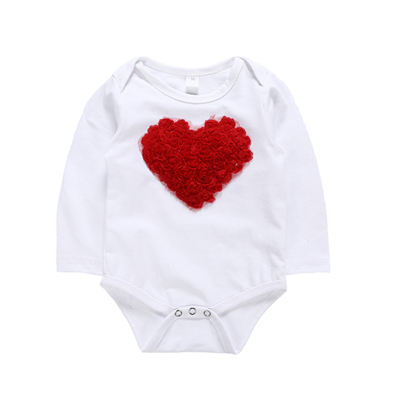 SOSOCOER Rose Girl Baby Clothing Set Newborn Baby Girl Clothes Long Sleeve Heart Romper Red Skirt Infant Clothing New Born 3pcs