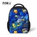 2016 sea world fish impresión mochila para niños y niñas mochilas de kindergarten bolso de escuela infantil, mochila niños
