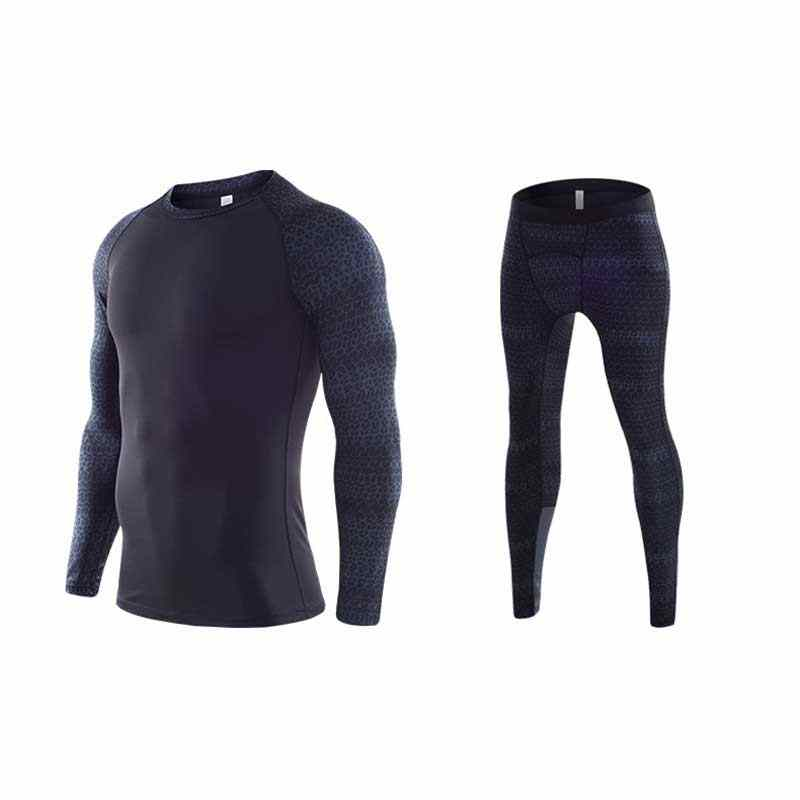Men Quick Dry Long Johns Winter Fitness Gymming Sporting Suit Runs Top Shirts + Tight Leggings Pants Thermal Underwear Sets MY08