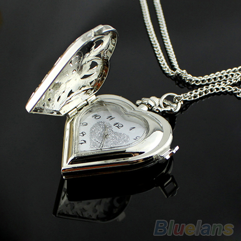 Hollow Heart-Shaped Necklace Pendant Women Watch
