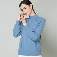 XL Brand Sweater Fall Winter Women Short Sweater 2019 New Solid Color Ruffles Knit Sweater Shoulder Crude Needle Pattern Sweater