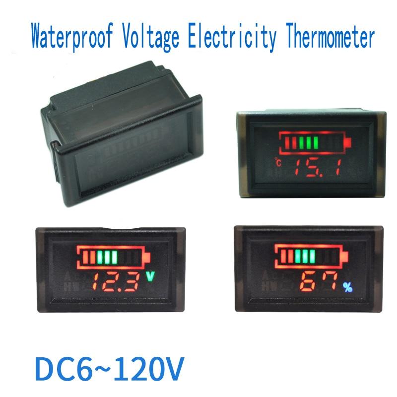 eadcf365bc656 DC 6-120V LED Screen Dual Monitor Coulometer Electronic Digital Voltmeter  Portable Digital Voltmeter Temperature