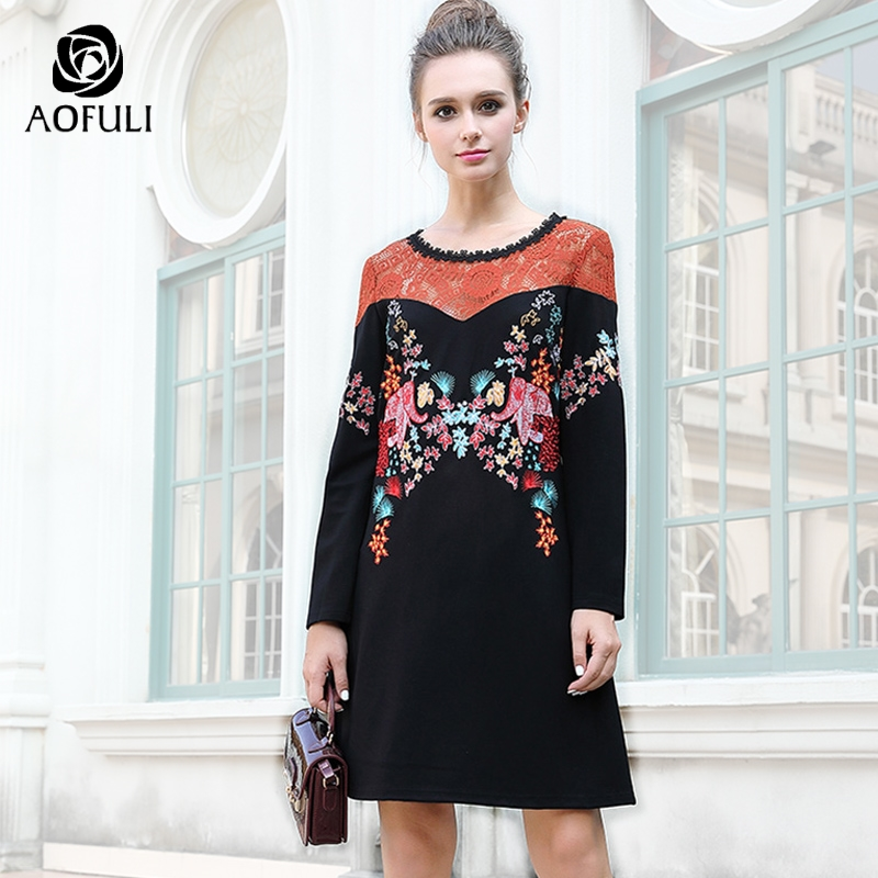 AOFULI M 4XL 5XL Women Flower Embroidery Straight Dress Colorful Flower Lace  Patchwork Black Dress Big Size Autumn Clothes 6127-in Dresses from Women s  ... 6d875215749f