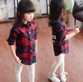 Baby Girls Kids Clothes 2016 Brand Children's Clothing for Girls Clothes Plaid Long-Sleeved Long Section Lapel Shirts  2-8Y
