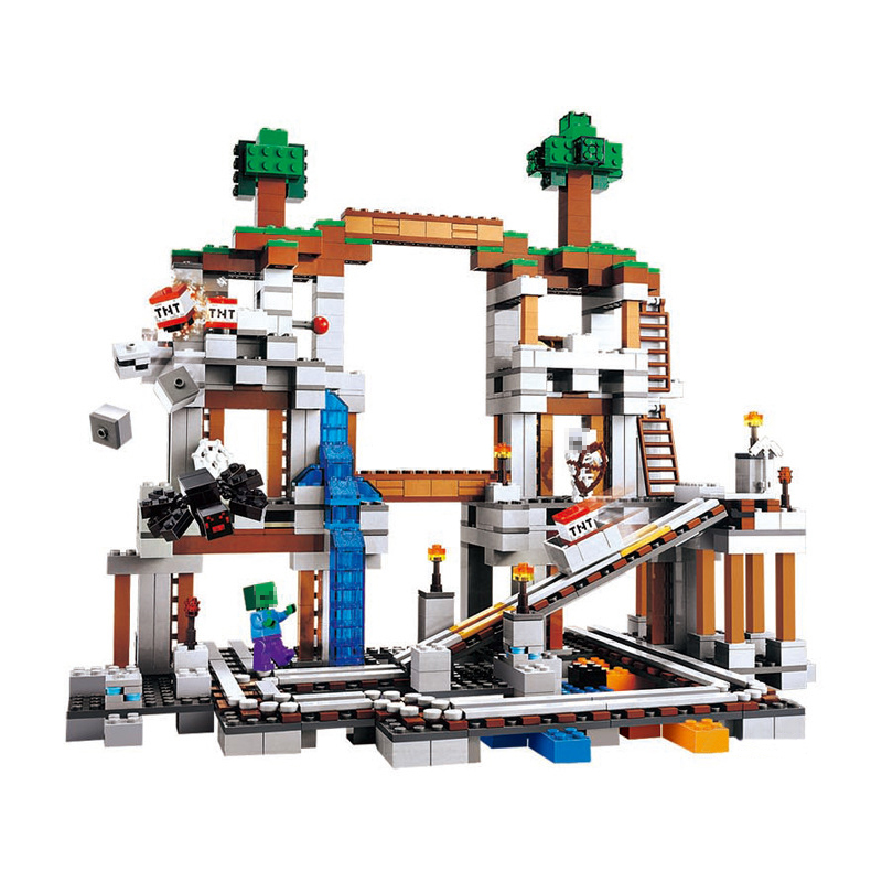 79074 The Mine 922 Pcs 18011 Mini Bricks Set Sale My World Building Blocks Assembled Toys For Children Compatible With Legoed kazi 608pcs pirates armada flagship building blocks brinquedos caribbean warship sets the black pearl compatible with bricks