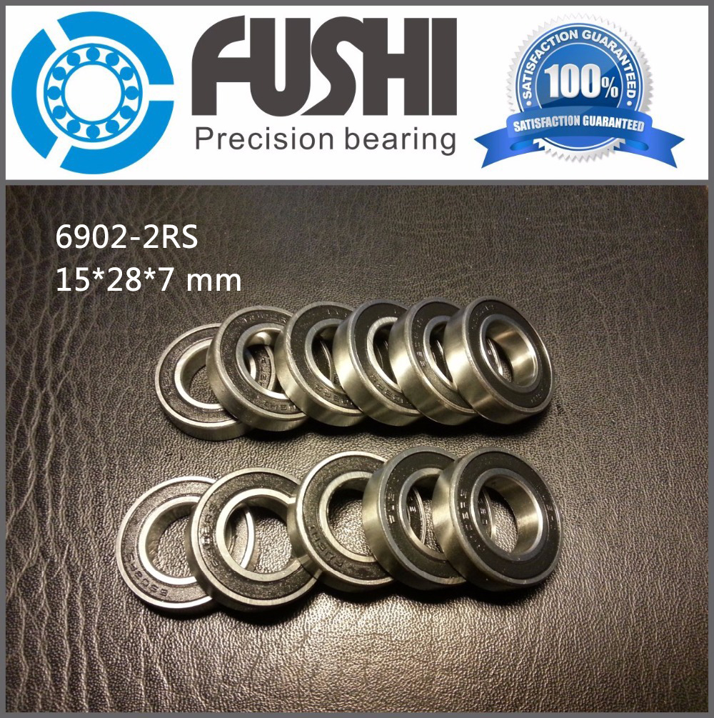 6902-2RS Bearing ABEC-1 (10PCS) 15x28x7 mm Metric Thin Section 6902 2RS Ball Bearings 6902RS 61902 RS