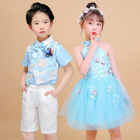 Elegant Dance Costume For Kids Jazz Rave Outfit Girl Stage Tutu Dress Boy Dancing Suit Children Team Performance Clothes DC2156