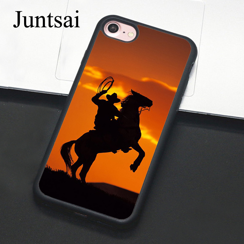 Juntsai Cowboy Horse Sunset Phone Case For iPhone 7 6 6s Plus Full Back Cover Soft TPU Cases For iPhone7 8 Plus X 5 5s SE