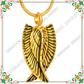 CMJ9139 Gold Plated Personal CREMATION URN Memorial Keepsake with Large Angel Wings charms kolye