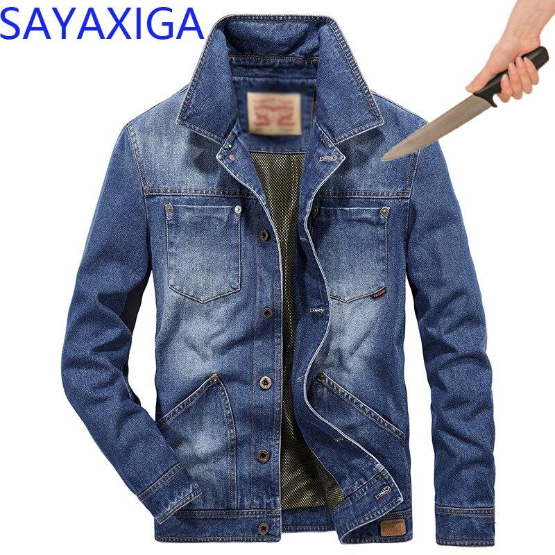 Erkek Kıyafeti'ten Ceketler'de Kendini Savunma Taktik Anti Cut Bıçak Kesim Dayanıklı Denim Ceket Anti Stab Geçirmez Cutfree Stabfree Askeri Güvenlik Kot Ceket'da  Grup 1