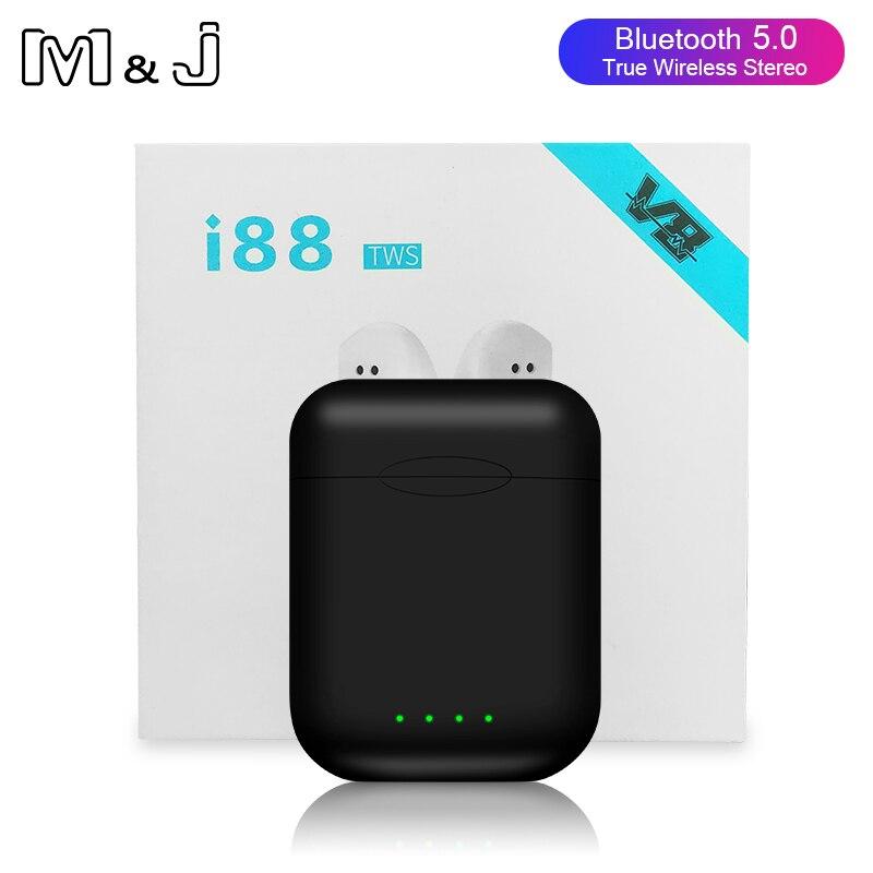 Original i88 tws controle de Toque Sem Fio Bluetooth 5.0 Fone De Ouvido fones de ouvido para Iphone Xiaomi PK tws i12 tws i10 i20 i30 i60 i80