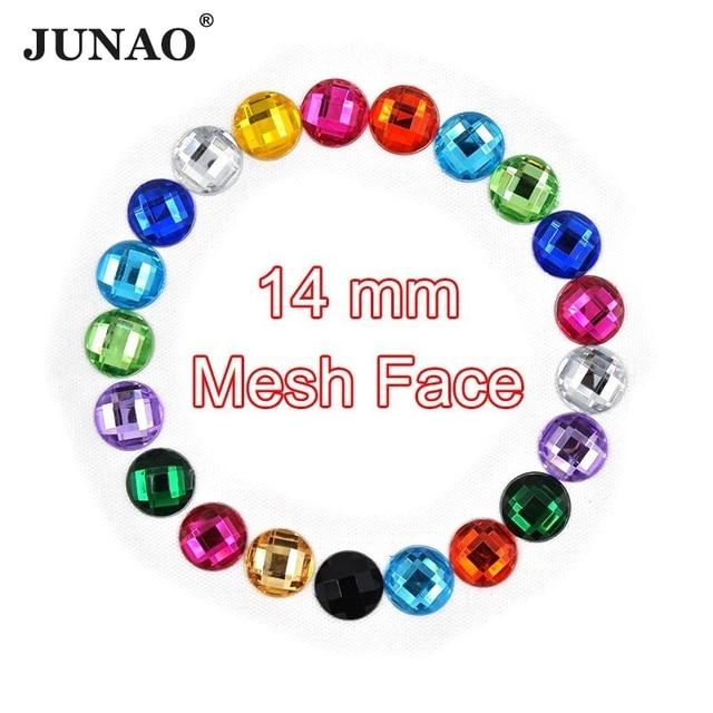 JUNAO 14mm Flat Back Crystal Rhinestones Round Shape Glue On Strass Crystal  Stones Acrylic Gems Scrapbook Beads for Arts Crafts 75c479fa5003
