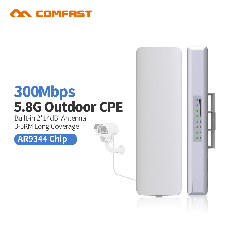 6Pcs, 5.8GHZ 300Mbps Comfast Wireless Outdoor Router long Range CPE AP Waterproof Antenna Wifi Repeater Access Point Amplifier