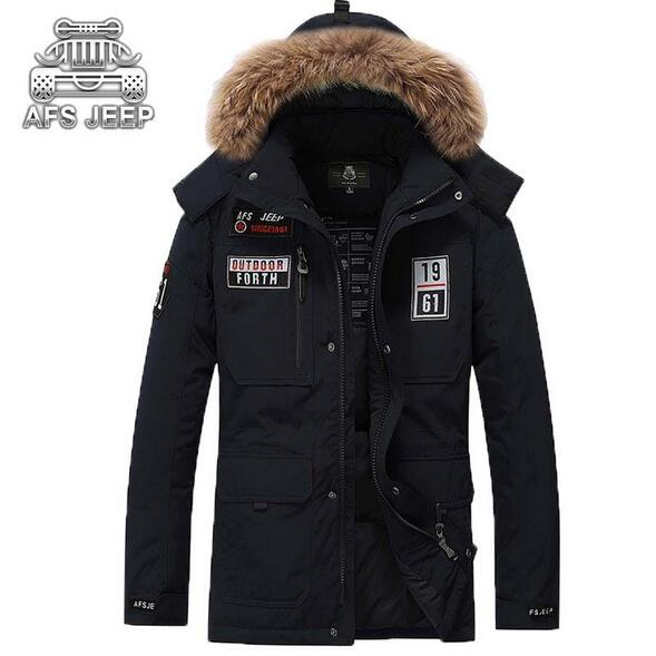 Original AFS JEEP Brand Mens Jacket With Big Fur Hood Plus Size Thick Warm Winter Jackets Coat White Duck Down Casual Men Parka 2016 black big plus size korea fashion female outwear thick warm parka oversize fur duck down winter coat women retro with hood
