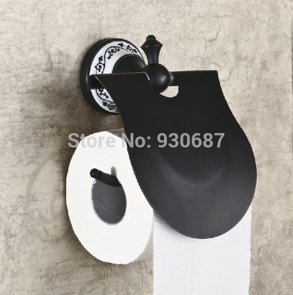 ФОТО Retro Style Oil Rubbed Bronze Flower Painted Toilet Paper Holder