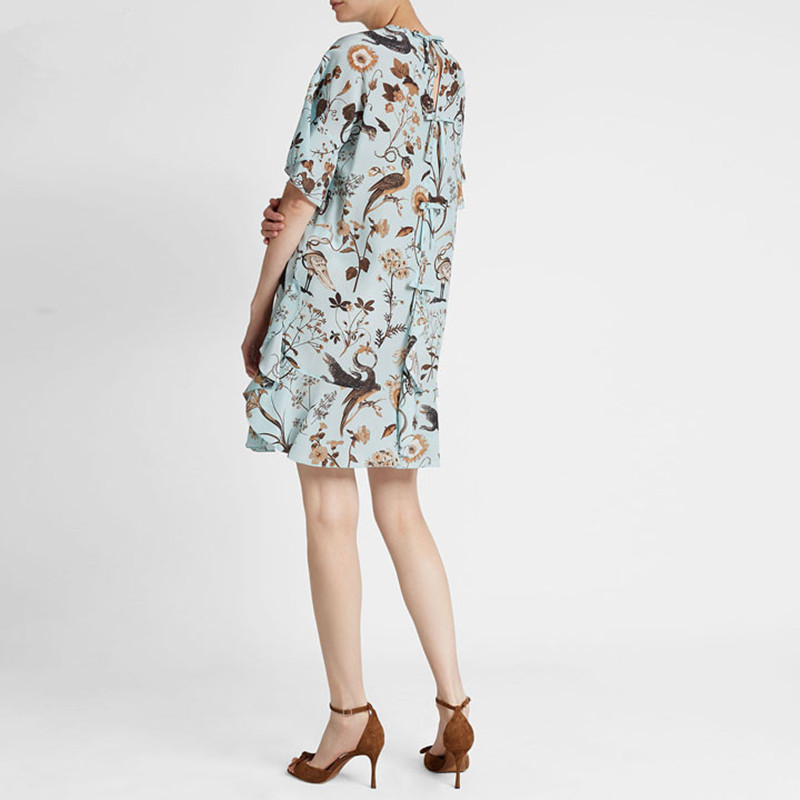 New Women Bird and Flower Print Summer Dress Back Bow Short Sleeve Fresh Mini Dress