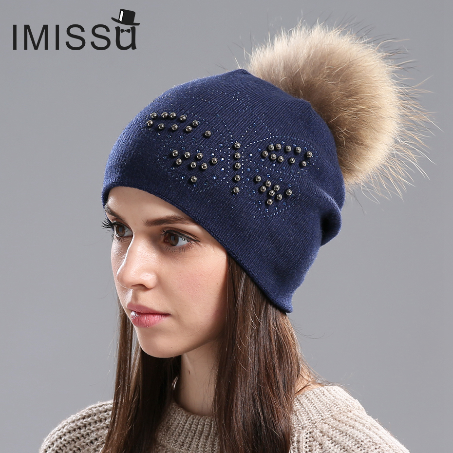 IMISSU Women's Winter Beanies Hats Knitted Wool Thick Warm Female Winter Fur Hat Casual Cap with Real Raccoon Fox Fur Pom Pom romanson rm 6a31l lw wh