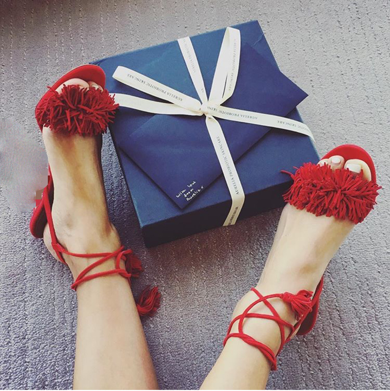 Plus Size 2017 Summer Sandals Shoes Woman Sexy Fringe Cross-Strap Lace Sandals Suade High Thin Heels Tide Designer Woman Sandals new 2017 summer flat sandals sexy pointed toe designer side buckle sandals woman shoes tide brand woman sandals hollow flats