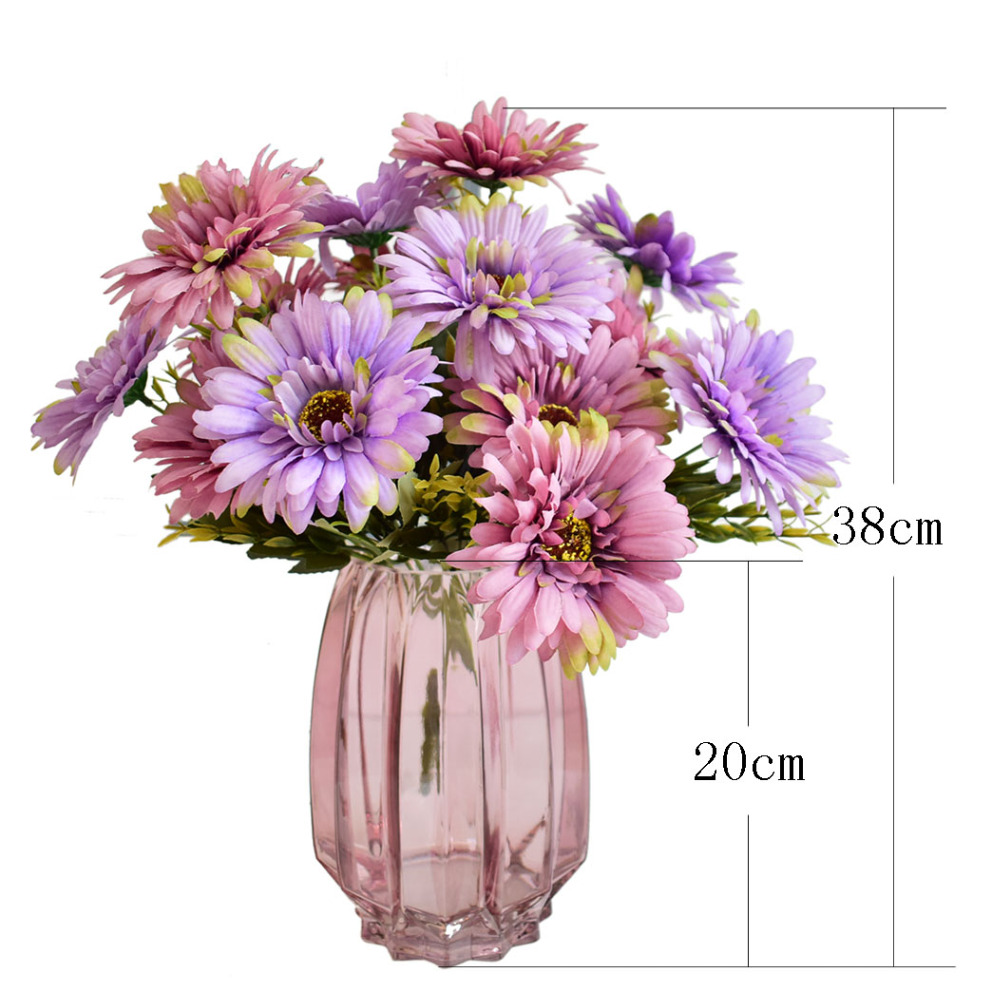 Modern Transparent Purple Glass Vase With Artificial Flowers Silk