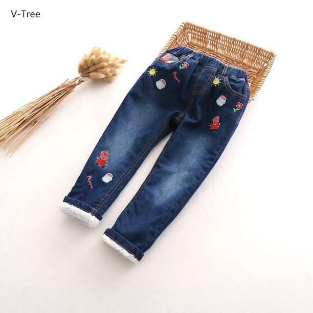 2016 do Inverno Da Menina Jeans Stretch Calças Calças Bebê Crianças Grosso Quente Double-deck Criança acolchoado-Algodão Bordado Denim calças Roupas