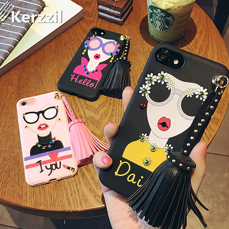 Fashion Sunglasses Modern Girl <font><b>Phone</b></font> <font><b>Cases</b></font> Coque for iPhone 7 6 6S Plus Diamond Big Rivets <font><b>Tassel</b></font> Drop Silicone <font><b>Case</b></font> Capa