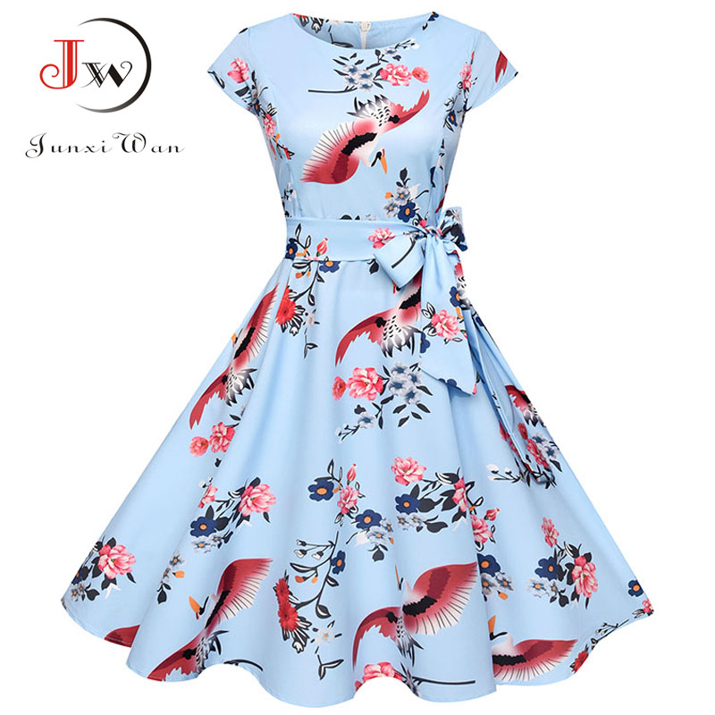 Summer Dress 2018 Women Short Sleeve Casual O-Neck Vintage Floral Dresses 50s 60s Retro Rockabilly Party Plus Size Vestidos 4