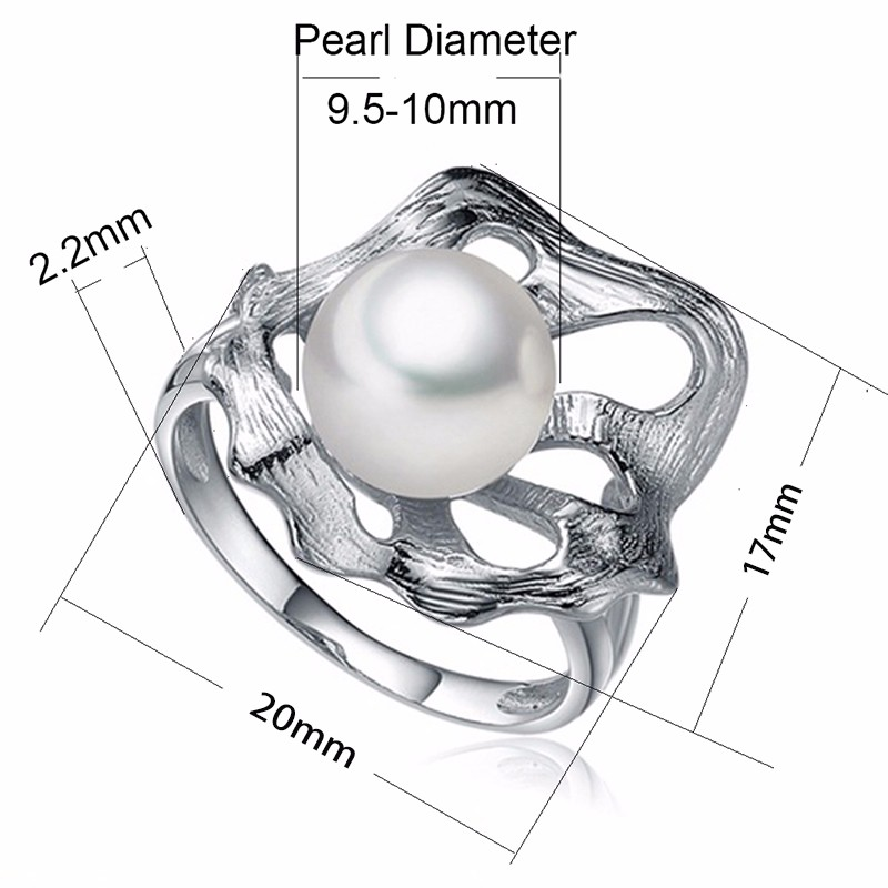 Sinya Fleshwater Cultured Pearl Ring Unique Lotus Leaf Design 925 Sterling Silver Jewelry for Women\'s Gift tz09044r