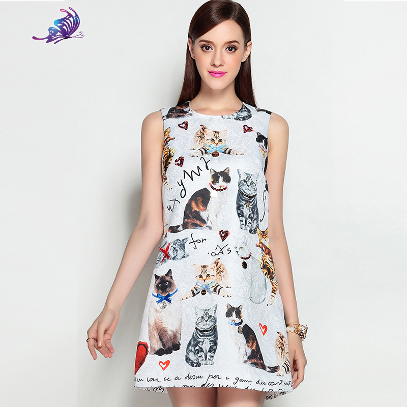 2017 Newest High Quality Runway Designer Dresess Womens Summer Sleeveless Lovely Cat Printed Love Beading Casual Mini Dress ...