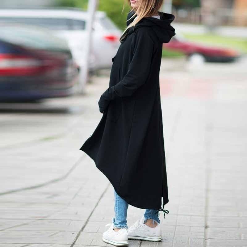 CROPKOP Fashion Long Sleeve Hooded Trench Coat 2018 Autumn Black Zipper Plus Size 5XL Velvet Long Coat Women Overcoat Clothes 1