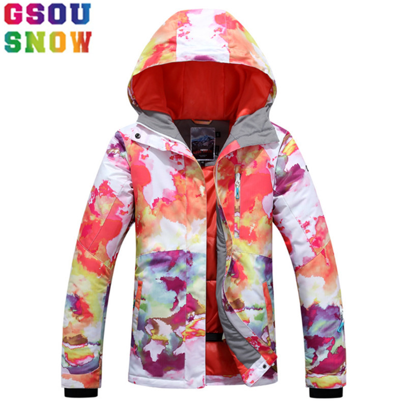GSOU SNOW Brand Snowboard Jacket Women Ski Jacket Winter Waterproof Windproof Breathable Skiing Suit Outdoor Sport Clothing Coat gsou snow brand ski suit women ski jacket pants waterproof snowboard jacket pants winter outdoor skiing snowboarding sport coat