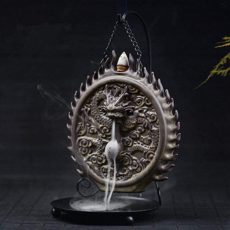 PINNY Creativo di Ceramica Riflusso Bruciatore di Incenso Drago Sculture Cono Possessore di Incenso Censer Home Decor Spedizione Gratuita