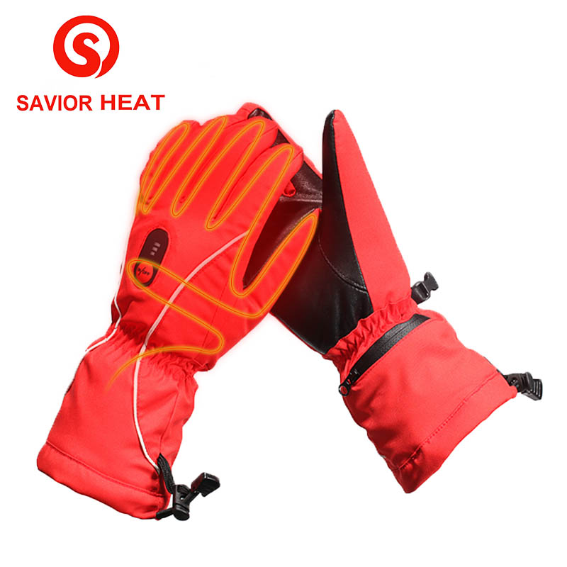 SAVIOR HEAT womens Heated GLove 5 finger back heating waterproof windproof winter outdoor sporting skiing riding