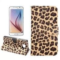 Luxury Leopard Print Leather Case Funda For Samsung Galaxy S6 Case Bracket Wallet Magnetic Flip Pouch